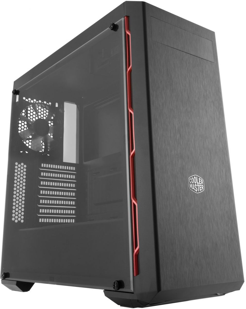 Cooler Master MCB-B600L-KA5N-S00 MasterBox MB600L Mid-Tower Computer Case, ATX, Micro ATX, Mini ITX Supported, Sleek Design with Red Side Trim and Acrylic Side Panel