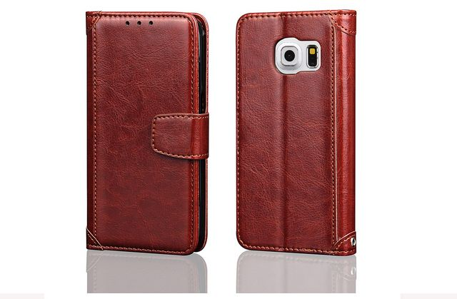 Flip cover for Samsung Galaxy S7 Edge Horsehide stand Case with Card Slots and Wallet EDS7-20 Brown