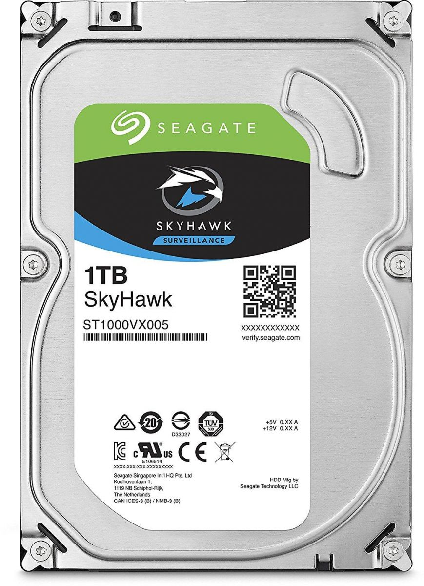 Seagate 1TB SkyHawk Surveillance Hard Drive - SATA 6Gb/s 64MB Cache 3.5-Inch Internal Drive - ST1000VX005