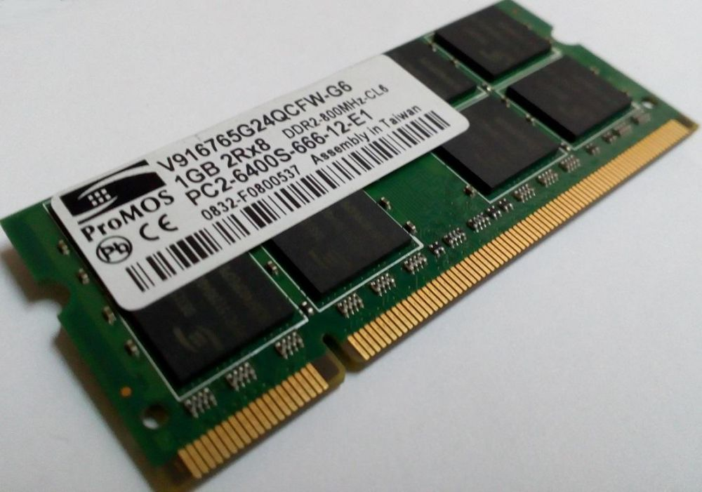ProMOS 1GB DDR2 RAM PC2-6400 800MHz non-ECC Unbuffered 200-Pin SoDimm Laptop Memory