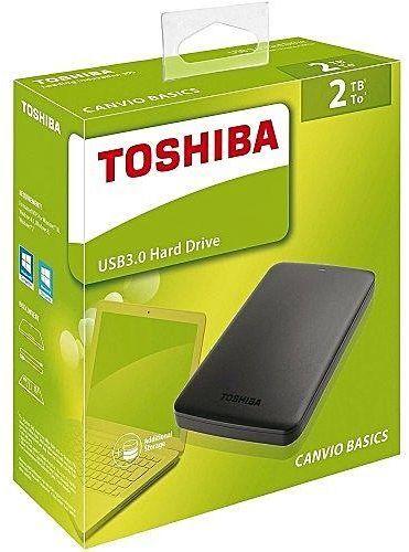 Toshiba 2TB Canvio Basics Portable External HDD 2.5 inch USB 3.0 - Black - (HDTB420EK3AA)