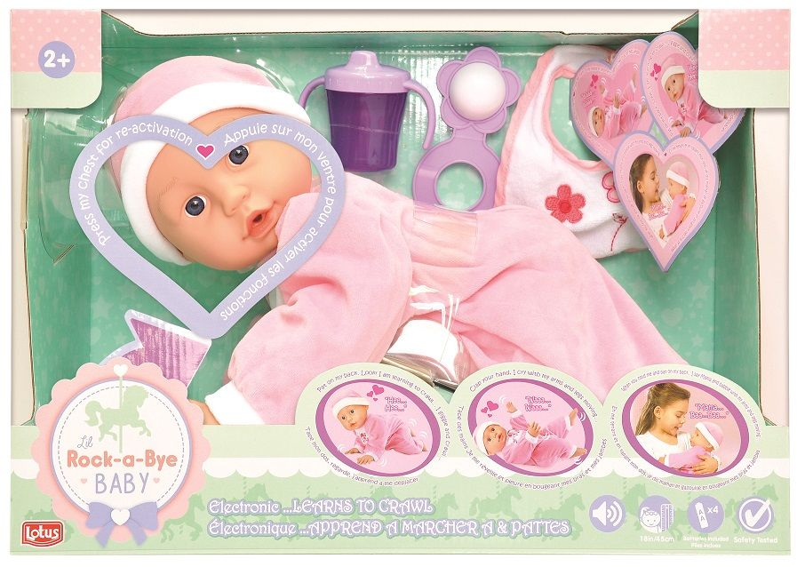 Lotes Doll 18,45Cm Electronic Soft- Bodied Crawling Baby Doll
