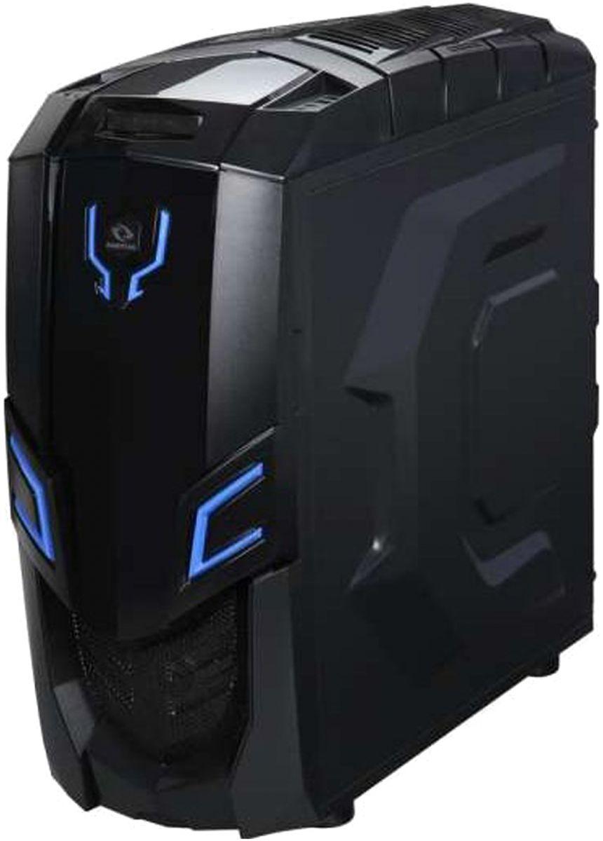 Raidmax Viper GX II Blue LED Steel Plastic ATX Mid Tower Computer Case, Black - 522WBU