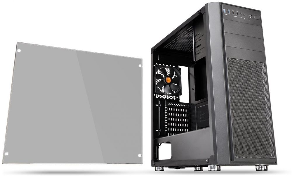 Thermaltake CA-1J5-00M1WN-00 Versa H26 Tempered Glass Edition Mid-Tower Chassis - Black