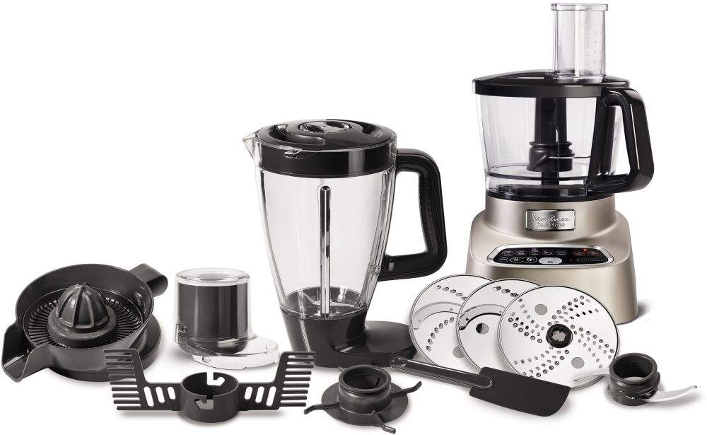 Moulinex 1000W Double Force Food Processor, Blender & Chopper - FP826H27, Silver, Stainless Steel