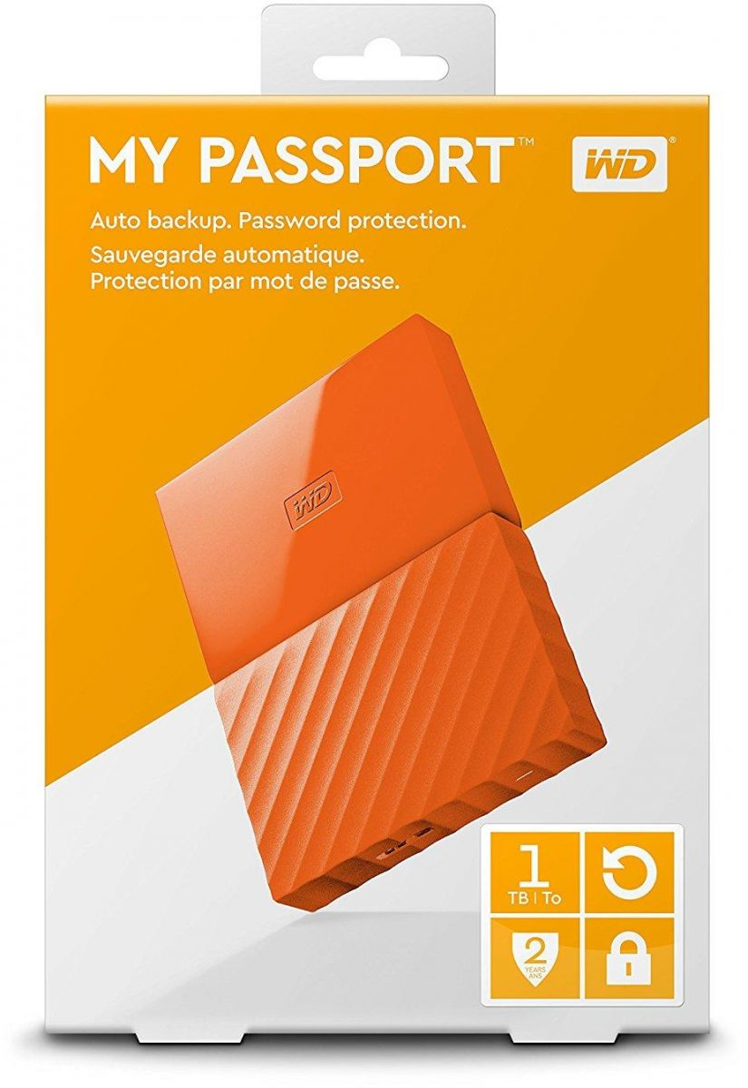 WD 1TB My Passport Portable External Hard Drive USB 3.0 - Orange, WDBYNN0010BOR