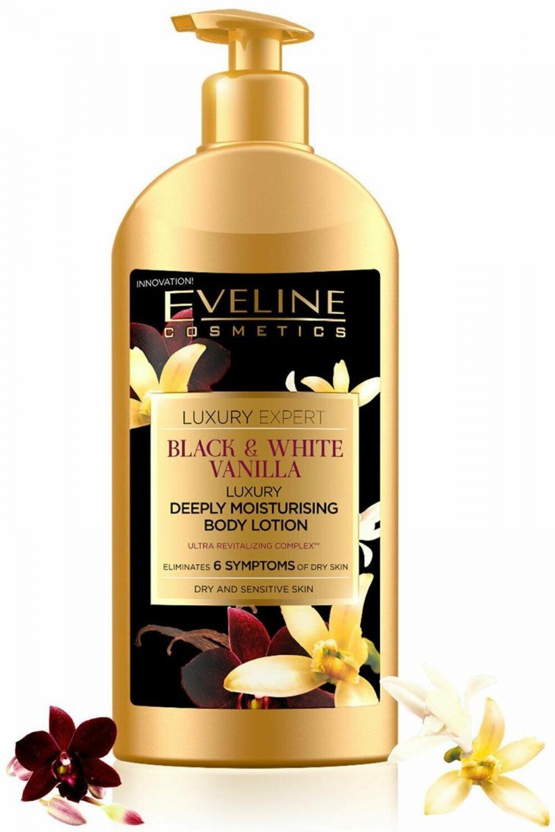 EVELINE LUXURY EXPERT BLACK&WHITE VANILLA DEEPLY MOISTURISING BODY LOTION 350ML