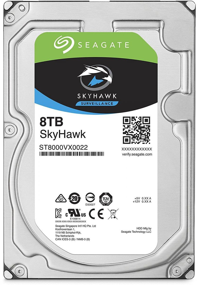 Seagate 8TB SkyHawk Surveillance Hard Drive - SATA 6GB/s 256MB Cache 3.5-Inch Internal Drive - ST8000VX0022